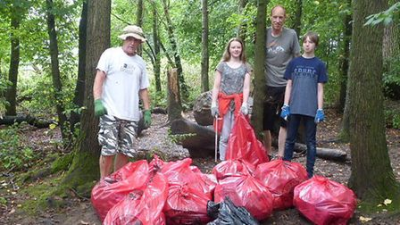 Residents litter-picking in Audley Park. Photo: Supplied by Martyn Everett.