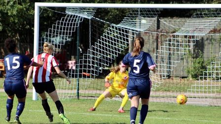 Emily Link opens the scoring for Clapton CFC women (Pic: Nick Davidson)