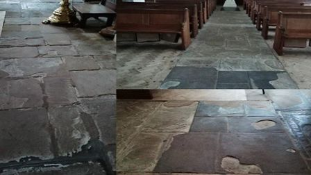 The old floor had been breaking up and was becoming unsafe. Picture courtesy of Reverend Dave Brown