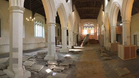A new stone floor was laid, with underfloor heating. Picture courtesy of Reverend Dave Brown