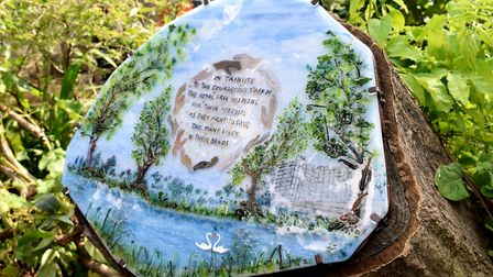 The glass tile by local artist Melissa Fairbanks commemorates the work done at the Royal Free to fight coronavirus and is...