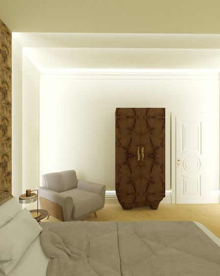 This neutral bedroom design from PullCast is part of a muted range where greys and whites prevail. Picture: PullCast.