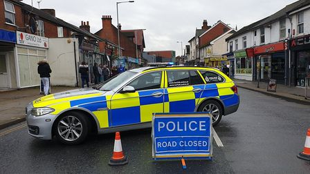 Norwich Road in Ipswich was closed by police after the reported altercation. Picture: ARCHANT LIBRAR