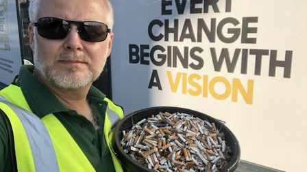 Jason Alexander, known as the Wildlfide Gadget Man, has launched his 'Blitz the Butt Week' in Suffolk Picture: JASON...