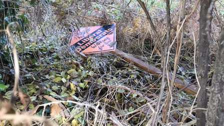 A Liberal Democrat election sign damaged in north Norfolk. Photograph: Kevin Geary.