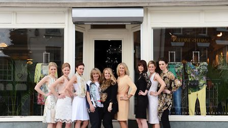 Anne Wright and Sally Montague, centre, pictured with models