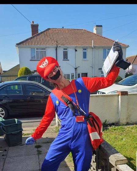 Postie Terry Barnes as Super Mario