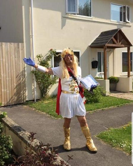 Postie Terry Barnes in a super costume
