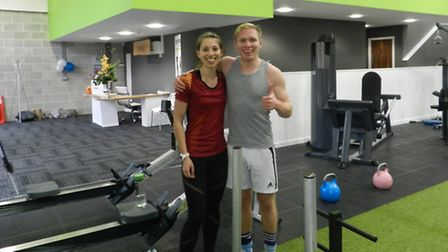Lucy with personal trainer Tom Oldfield