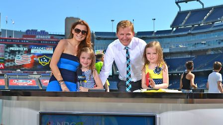 Arlo with wife Lizi and daughters Eva (left) and Amelie in Boston