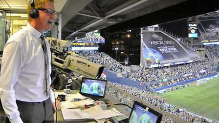 Commentating on a winning goal for Seattle Sounders v Chicago Fire - Seattle, 2010