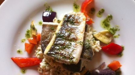 Sea bass fillet and prawn risotto