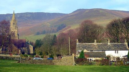 Edale Church and Church Cottage with the backcloth of Kinder Scout
