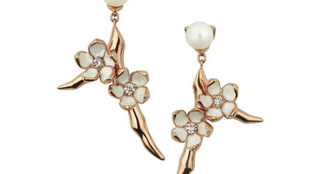 Cherry blossom gold vermeil small branch earrings with topaz and pearls (£465)