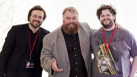 Adam Buss (left) and Adam Marsh (right) with Brian Blessed at a previous QUAD film event Photo: Graham Lucas Commons