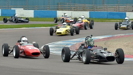 Ashbourne's Matt Wrigley leads a group of Historic Formula Ford racers in his Merlyn Mk20A