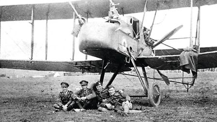 Gilbert Hall was flying the ungainly Vickers FE2B like this example, when he was shot down. The bags attached to the Lewis...