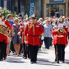 The band leading the parade through Derby from St Peter's Church to the Cathedral