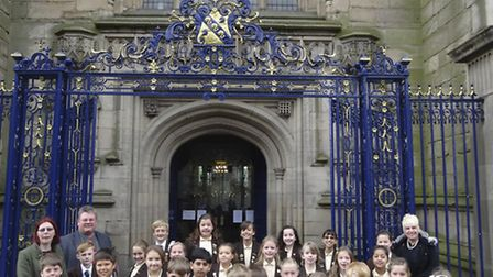 Old Vicarage School Choir and Staff outside Derby Cathedral