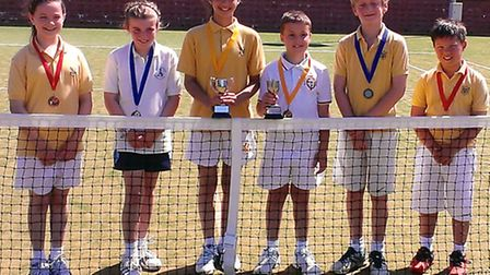 Pictured in the yellow shirts are the competitors from the Old Vicarage School (L to R) Lollie Gibson, Aliyah Weatherall...