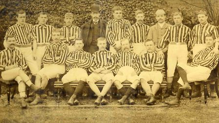 Derby Midland FC 1888-89 in the grounds of the Midland Hotel - a smart outfit but soon to be swallowed up by Derby County:...