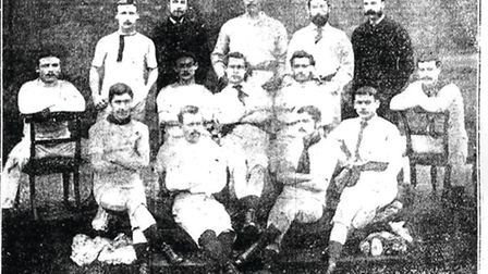 Ghostly figures - Derby Midland FC 1883-84, soon to be nettled by the arrival of Derby County. Back (l to r): A Latham, AH...
