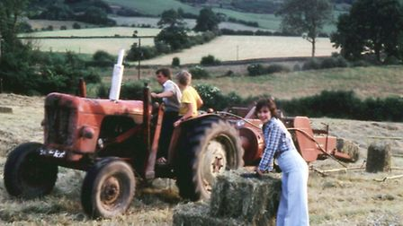 Steve as a lad helping his father and aunt on the family farm near Ashover