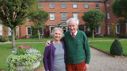 John and Jackie Blunt outside their magnificent Georgian mansion