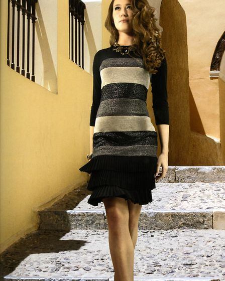Striped Frank Lyman dress with a flared hem, stocked at She Fashions, Knifesmithgate, Chesterfield www.shefashions.co.uk