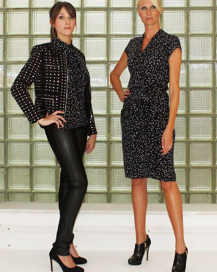 L to r  Moschino star print blouse, Michael by Michael Kors black studded jacket, 7 for All Mankind crackle black jeans...