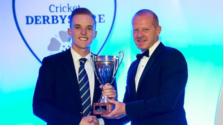 Elite Performance Director Graeme Welch presents Ben Slater with the Most Improved Player Award, sponsored by Derby Telegraph