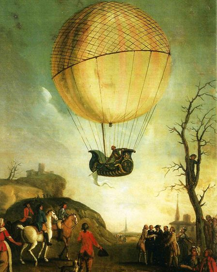Frenchman Jacques Charles in his December 1783 hydrogen-balloon ascent near Paris. In May 1784 an exact replica was...