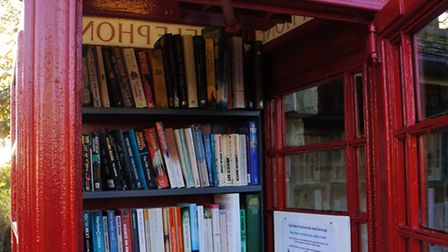 Quarndon's phone box - now used as a library