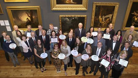 Award winners and judges in the Joseph Wright Gallery