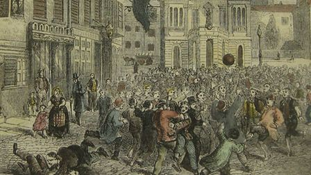 The fray begins - an artist's view of Shrovetide Football in the 1840s - very much like that at Derby
