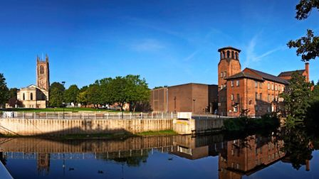 Modern day Derby with the historic Silk Mill and Derby Cathedral