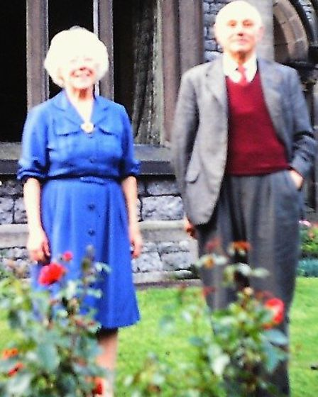 Major and Mrs Harris at their home, 'Parkfield' Ashford-in-the-Water, in 1965