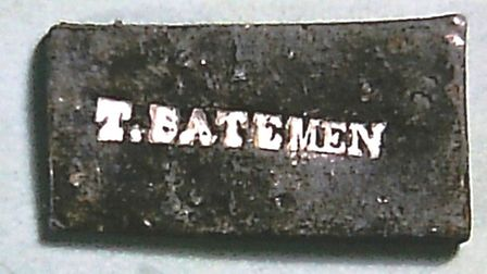 One of Thomas Bateman's lead tablets found by Harris in a tumulus near Ashford and presented to the author in the 1960s