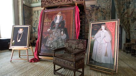 The portraits of Elizabeth I, Bess of Hardwick and Arbella on display in the State Room at Hardwick Photo: Richard...