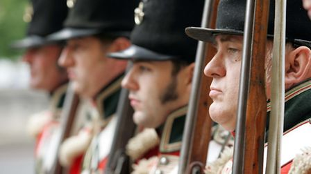 Waterloo era re-enactors stand guard at an event at Apsley House. Courtesy of English Heritage