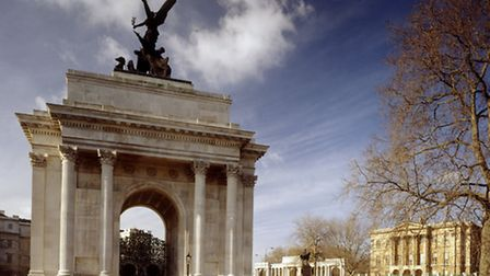 Wellington Arch (foreground) and Apsley House (rear) in London Courtesy of English Heritage