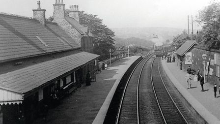 A reproduction from an old postcard taken from the footbridge at about the turn of the Century and looking towards Strines.