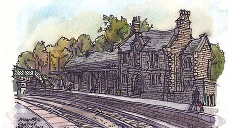 Local artist Paul Gent's 2013 drawing of the station