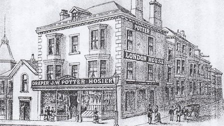 An old pencil drawing of the premises