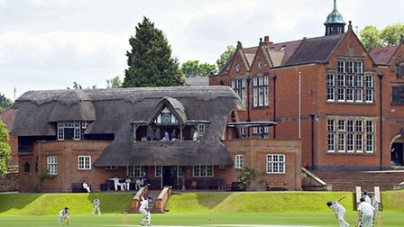 The thatched cricket pavilion at Repton School Photo: Andy Weekes