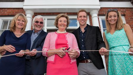 Ribbon cutting  Lady Scarsdale (centre) with Kes, Trevor, Paul and Leanne Harris (directors of Derby Brewing Co)