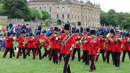 The Band and Corps of the Royal Engineers march into the Grand Ring at the start of the opening ceremony