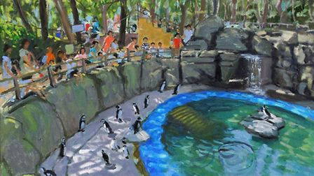 Andrew Macara's 'Pengiun Pool, Madrid' greets those walking to outpatients clinics