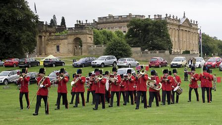 The Band of The Royal Engineers beating retreat