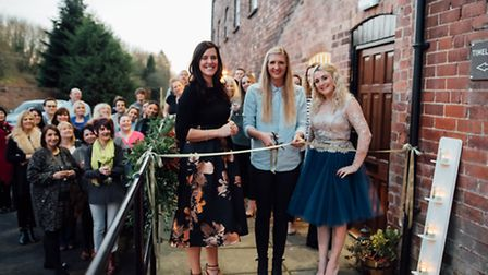Kerry Booker and Astra Slater with Rebecca Adlington at the Haarlem Mills launch Photo: Matt Brown